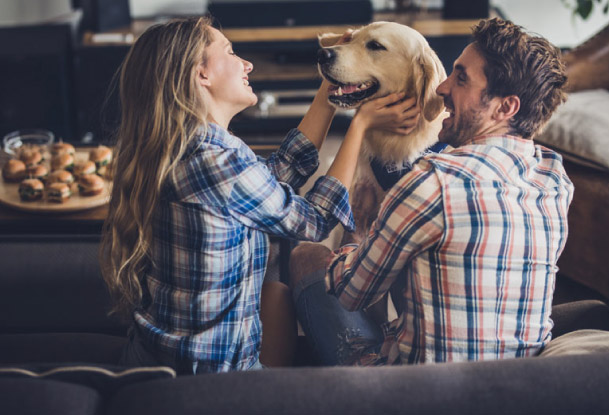Couple smiling with dog